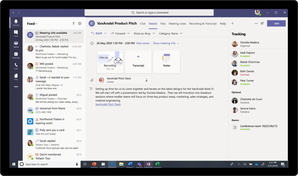 Microsoft Teams meeting infof